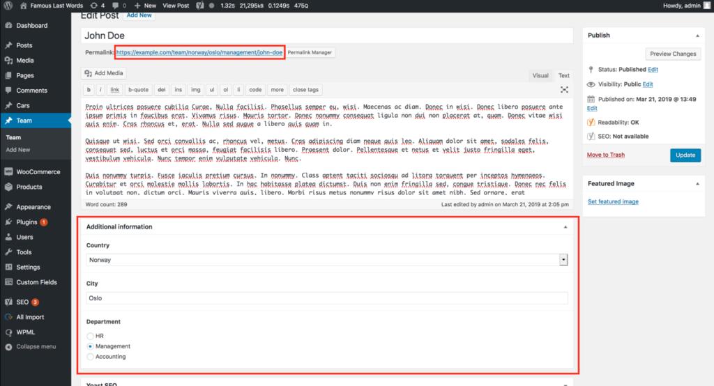 A sample WordPress permalink with custom field values.