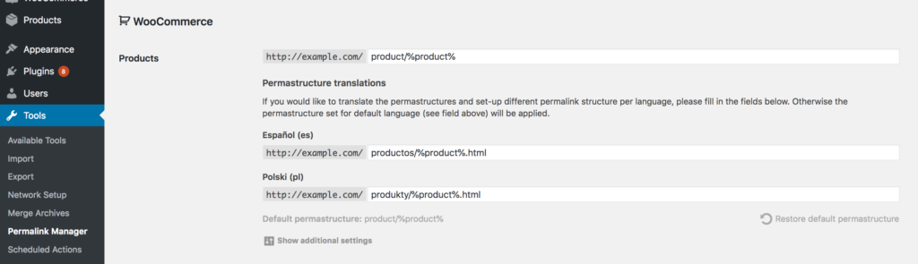 Translate WooCommerce permalinks (products)